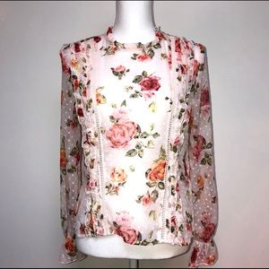 KENSIE RUFFLED FLORAL DOTTED SWISS BLOUSE